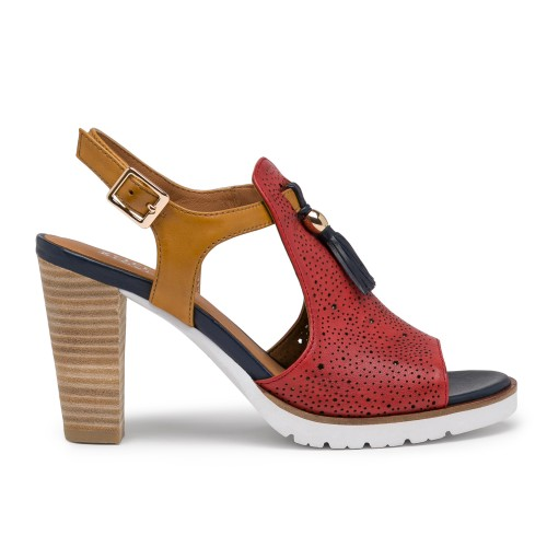 SYLVIE-48 Red/Cuoio/Blue
