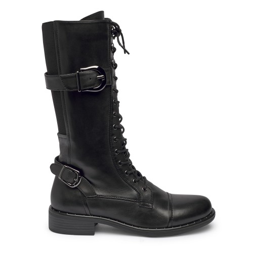 Roxana 10 - Black Long Combat Boot